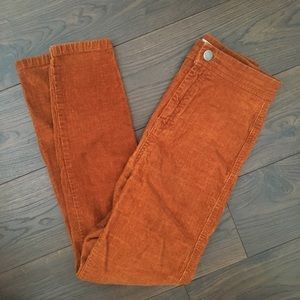 ASOS Orange Corduroy High-Waisted Skinny Trousers